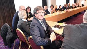 Puigdemont, en un hotel de Bruselas, a principios de febrero.