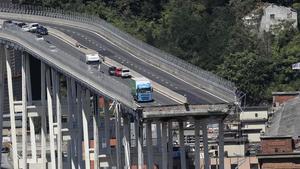 El puente Morandi, tras el accidente, el pasado agosto.