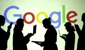 FILE PHOTO  Silhouettes of laptop and mobile device users are seen next to a screen projection of Google logo in this picture illustration taken March 28  2018   REUTERS Dado Ruvic Illustration File Photo