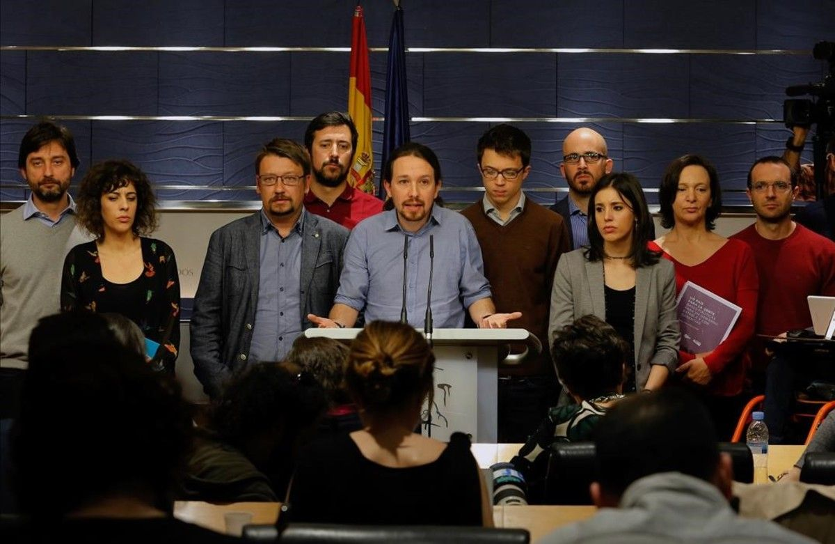 Pablo Iglesias, en la rueda de prensa que ha ofrecido junto a miembros de su grupo, este viernes en el Congreso.