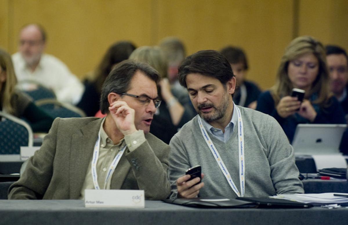 Artur Mas y Oriol Pujol, durante la reunión del Consell Nacional de CDC.
