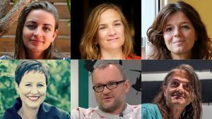 Los escritores Irene Solà, Tracy Chevalier, Maylis de Kerangal, Heather Rose, Ignacy Karpowicz y Perejaume.