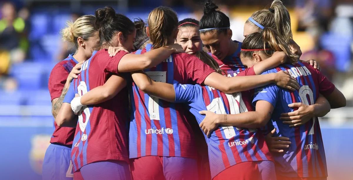 Las jugadoras del Barça femenino, en un encuentro de pretemporada