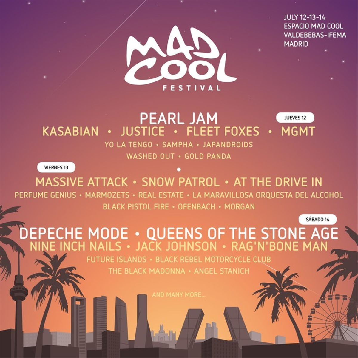 Cartel por días de Mad Cool Festival 2018.