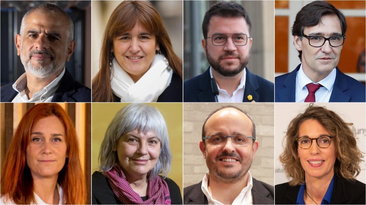 De izquierda a derecha y de arriba abajo, los candidatos a la Generalitat: Carlos Carrizosa (Cs), Laura Borràs (Junts), Pero Aragonès (ERC), Salvador Illa (PSC), Jèssica Albiach (CeCP), Dolors Sabater (CUP), Alejandro Fernández (PP) y Àngels Chacón (PdeCat).