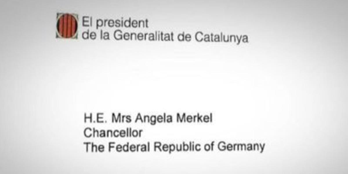 Una imagen del encabezamiento de la carta del 'president' enviada a los líderes europeos, en este caso, la cancillera alemana, Angela Merkel.