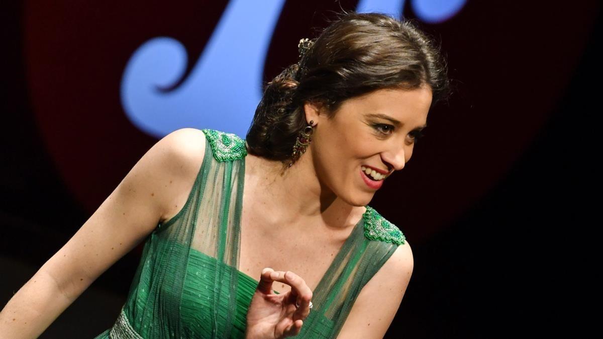 Leonor Bonilla durante su participación en el concierto de los ganadores del 55 Concurs Tenor Viñas en el Liceu.