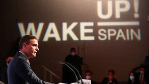 El presidente del Gobierno, Pedro Sánchez, durante su intervención en la inauguración del foro Wake up Spain!.