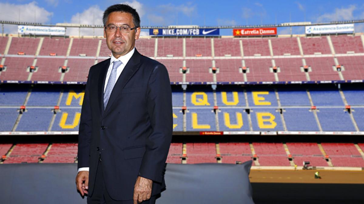 El president del Barça parla per a EL PERIÓDICO a la llotja del Camp Nou.