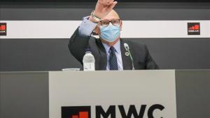 John Hoffman, durante la rueda de prensa en la que ha anunciado el aplazamiento del MWC del 2021.