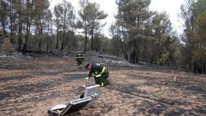 Dos agents rurals treballen al punt on va començar el foc.