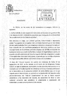 Escrito de la fiscalía sobre las cargas policiales del 1-O