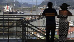 Vista general de la esclusa de Miraflores en el Canal de Panamá.