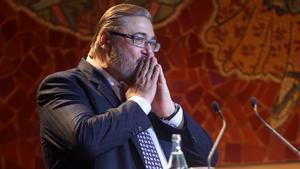 Antonio Franco durante su parlamento como ganador del premio Antonio Asensio de periodismo