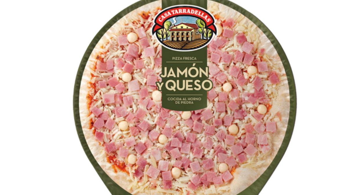 Pizza de jamón y queso de Tarradellas.