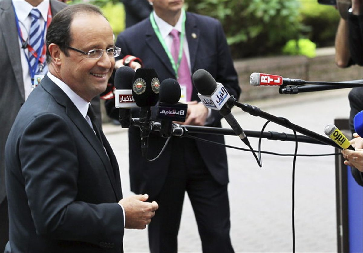 Hollande, a su llegada a la cumbre de jefes de Estado y de Gobierno de la UE en Bruselas.