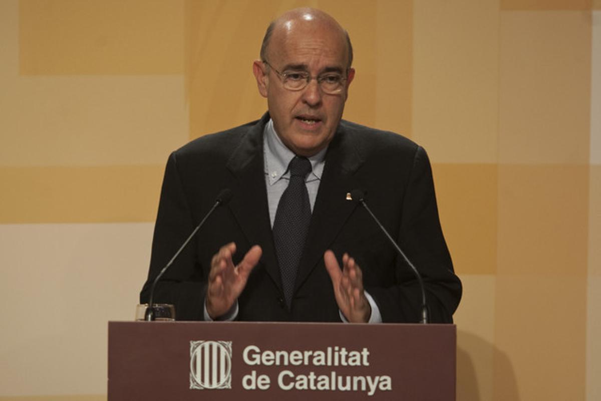 El 'conseller' de Salut, Boi Ruiz, el martes, durante una comparecencia en el Palau de la Generalitat.