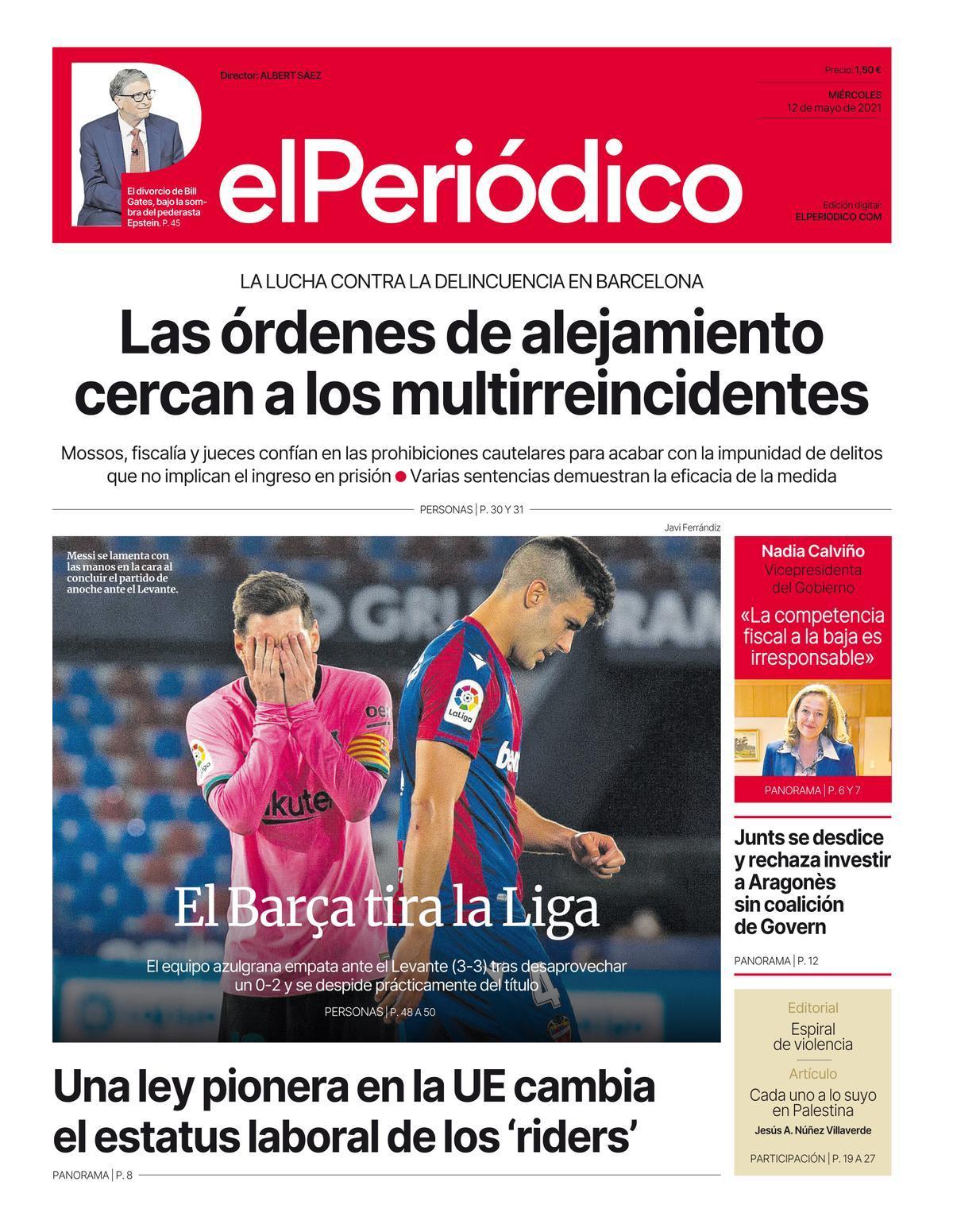 La portada de EL PERIÓDICO del 12 de mayo de 2021