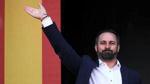 El presidente de Vox, Santiago Abascal, este sábado en Barcelona.