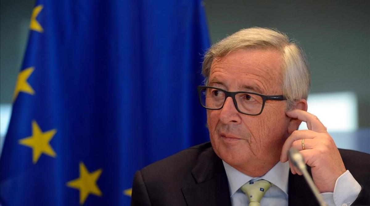 El presidente de la Comisión Europea, Jean-Claude Juncker, durante su intervención en la Eurocámara.