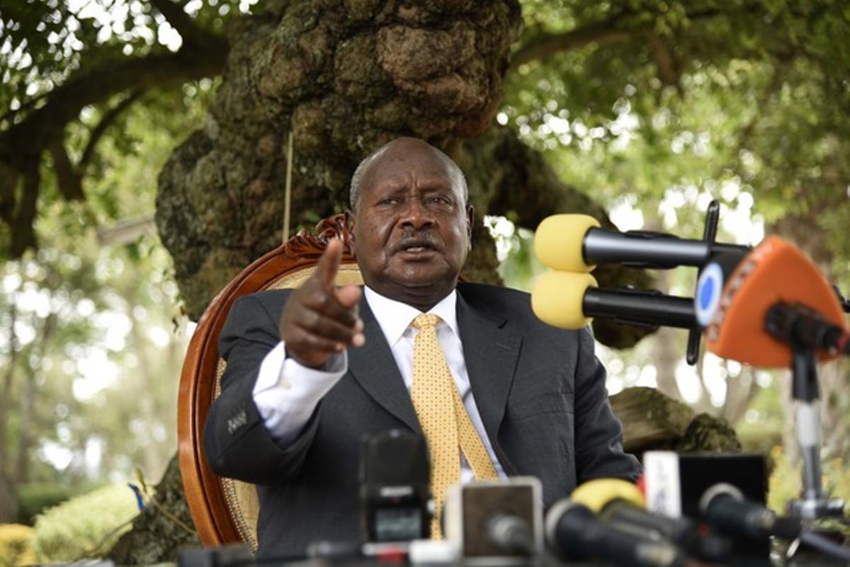 El presidente ugandés, Yoveri Museveni, en una rueda de prensa este febrero.