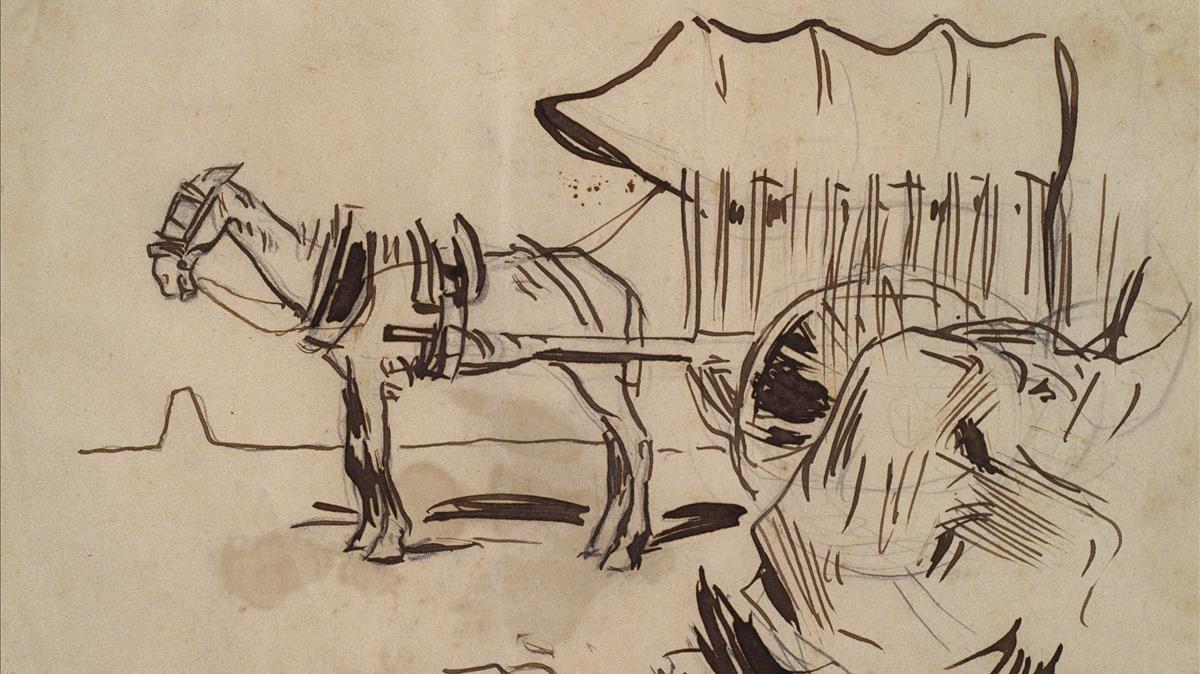 Dibujo de Ramon Casas para serie de artículos de Santiago Rusiñol 'Desde mi carro'.