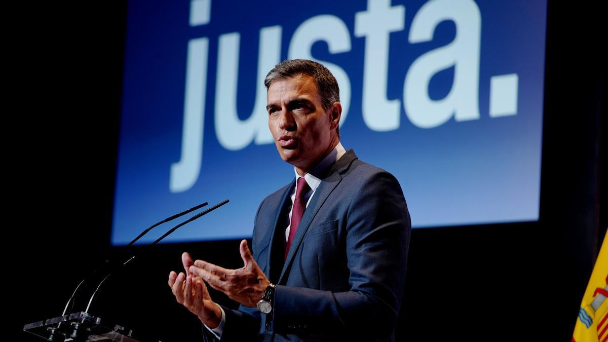 El presidente del Gobierno, Pedro Sánchez, durante su conferencia para iniciar oficialmente el curso político
