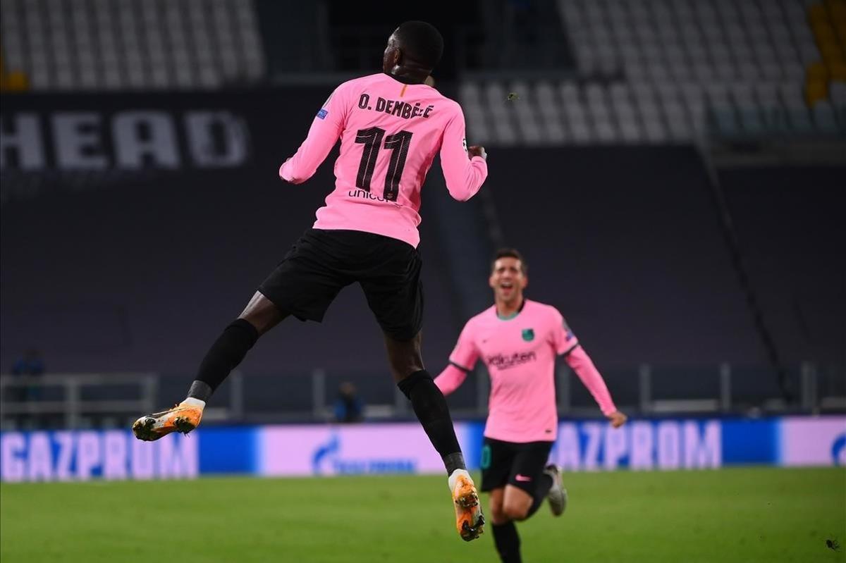 Dembélé celebra el tanto ante la Juventus