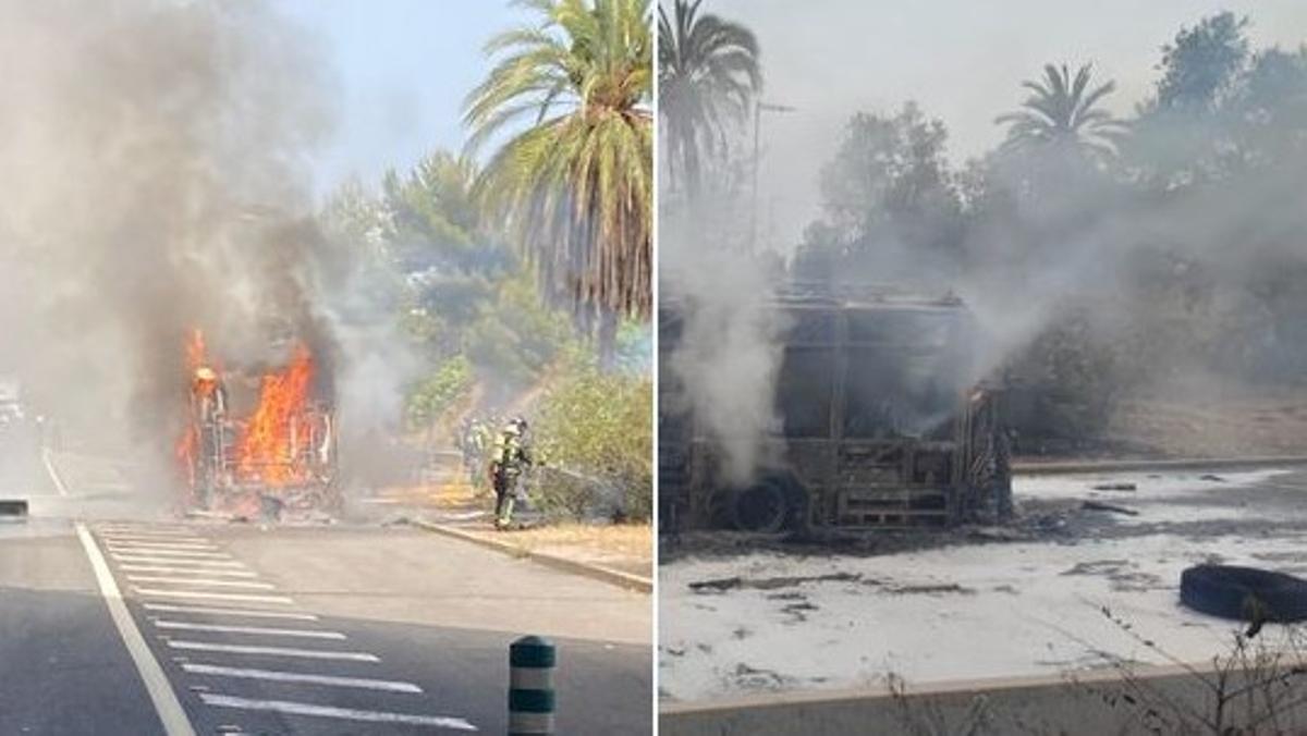 Un autobús se incendia en la avenida Diagonal de Barcelona este jueves.