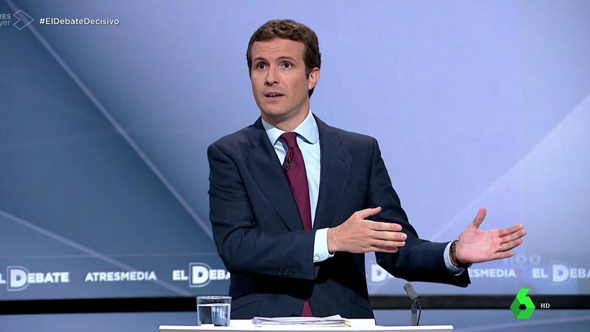 Debate en Atresmedia. Casado pide el voto unido en el PP para no dividir a los españoles.