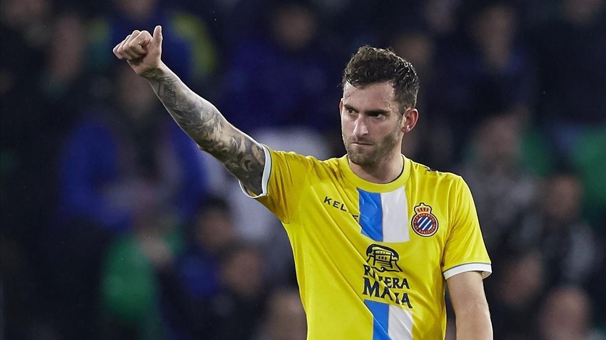 Leo Baptistao con la camiseta del Espanyol.