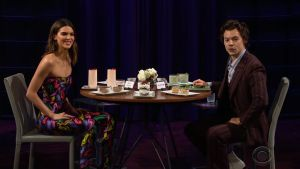 Harry Styles y Kendall Jenner, en el programa de 'The late, late show', de James Corden.