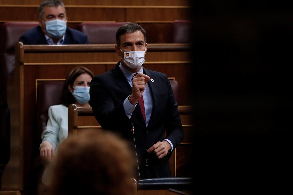 El presidente del Gobierno, Pedro Sánchez, durante la sesión de control de este 16 de septiembre en el Congreso.