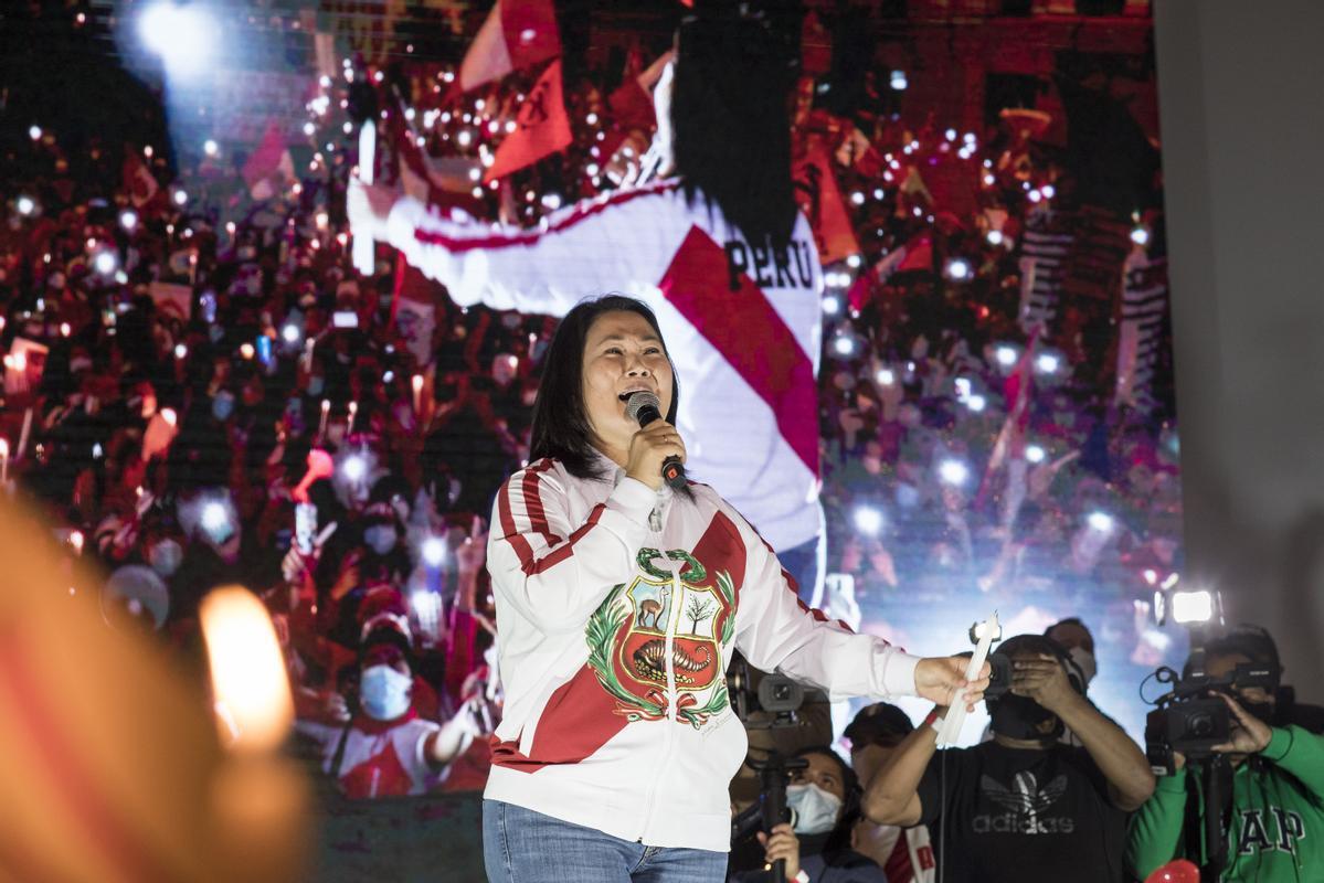 La excandidata presidencial de Perú y líder de Fuerza Popular, Keiko Fujimori, durante un acto político posterior a las elecciones presidenciales de junio de 2021