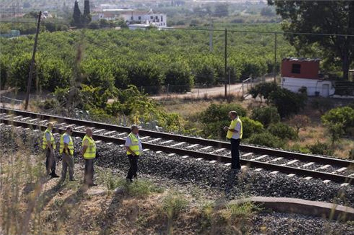 Técnicos de ADIF inspeccionan la zona acotada de la vía férrea en Málaga