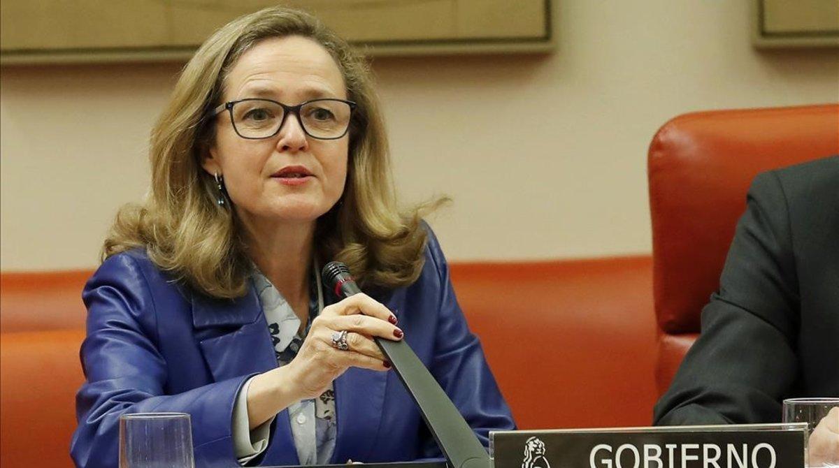 La ministra de Economía, Nadia Calviño,en la Comisión de Economía del Congreso de los Diputados.