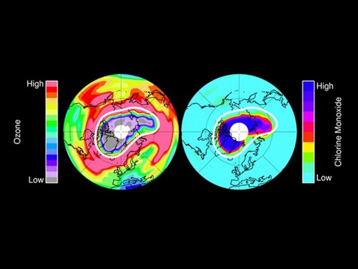 Dos fotografías cedidas por la NASA que muestran, a la izquierda, la capa de ozono en la estratosfera de la Tierra a una altitud de aproximadamente 20 kilómetros a mediados de marzo del 2011. A la derecha: datos del monóxido de cloro, el principal agente de destrucción del ozono químico en la estratosfera polar inferior en el mismo día y altitud.