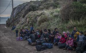 Inmigrantes recién llegados a la isla de Lesbos.