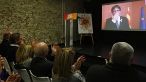Puigdemont, este lunes, en un acto con militantes de la extinta Unió que apoyan al 'expresident'.