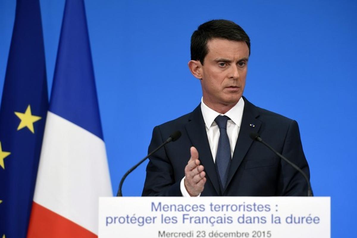 El primer ministro galo, Manuel Valls, durante una rueda de prensa en el palacio del Elíseo de París.