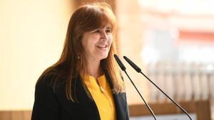La candidata de JxCat, Laura Borràs, durante el acto en Sant Cugat del Vallès.