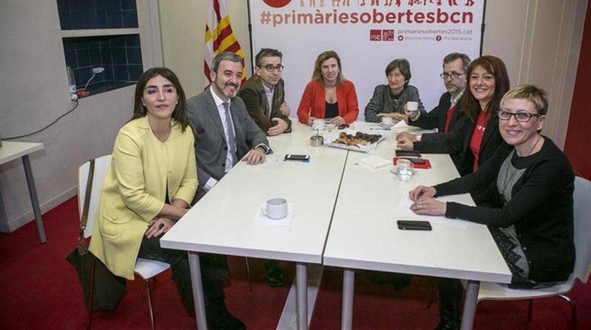 Primer encuentro de los candidatos de las primarias del PSC en Barcelona. JOAN CORTADELLAS