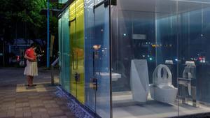 Una mujer observa, curiosa, los nuevos baños transparentes instalados en un parque de Tokio.