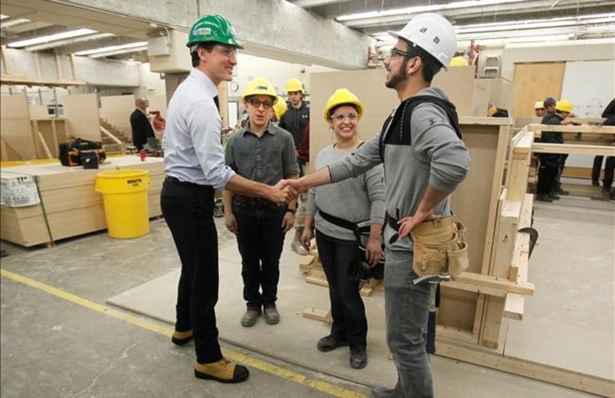 Justin Trudeau, primer ministro de Canadá, en una visita a la escuela universitaria George Brown, en Toronto, el pasado jueves.