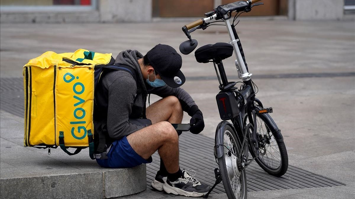 Un repartidor de Glovo en Madrid.