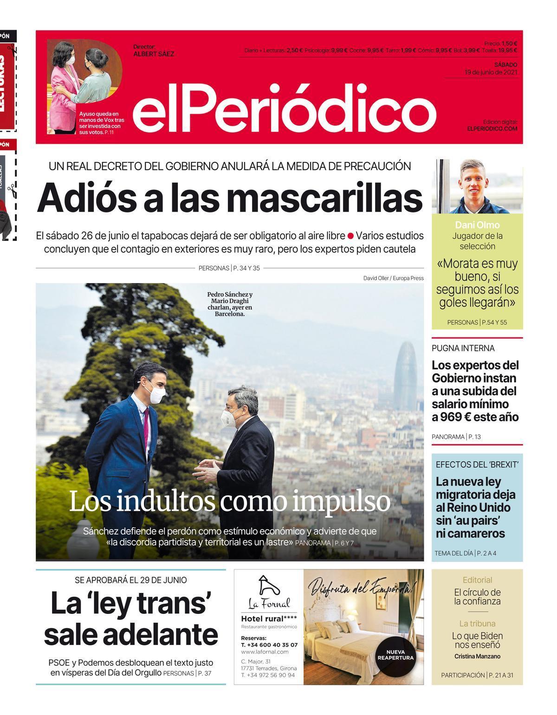 La portada de EL PERIÓDICO del 19 de junio de 2021