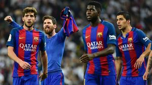 Sergi Roberto, Messi, Umtiti y Suárez, tras el 2-3 en el Bernabéu.