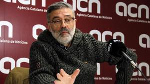 Carles Riera, este miércoles en una rueda de prensa en la ACN.