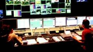 Imagen de la sala de control de realización de la sede del grupo catalán Mediapro en Barcelona.