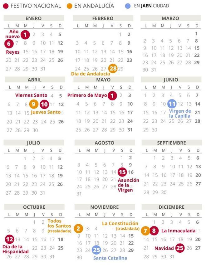 Calendario laboral de Jaén del 2020 (con todos los festivos)